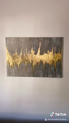 Painting With Gold Leaf, Ikat Painting, Abstract Painting Techniques, Gold Leaf Art, Textured Painting, Abstract Canvas Wall Art, Diy Canvas Art, Diy Wall Art, Bild Gold