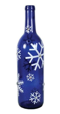 Blue Snowflake Glass Bottle Project from Crafts Direct Glass Bottle Crafts, Wine Bottle Art, Painted Wine Bottles, Lighted Wine Bottles, Painted Wine Glasses, Glass Bottles, Vodka Bottle, Bottle Lights, Decorated Bottles