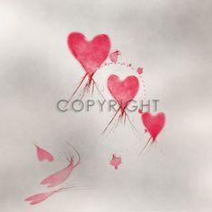 HEUTE 15,- Euro VALENTINSTAGS AKTION - Gutschein Code VAL16 - Mindestbestellwert nur 69,- €  Fliegende Herzen in rot von Chrstine Bässler