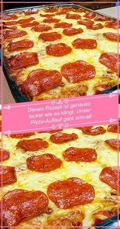 Dieses Rezept ist genauso lecker wie es klingt: Unser Pizza-Auflauf geht schnell – RezepteBlog.net Pizza Snacks, Dory, Food And Drink, Chef Recipes, Food And Drinks, Lasagna, Roast