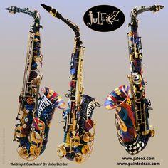 """Juleez Hand Painted Alto Saxophone Instrument Midnight Sax Man In ..."""""""