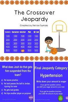 "This game is a perfect way to review concepts and ideas from ""The Crossover"" by Kwame Alexander. Jeopardy categories are Vocabulary, Characters, Basketball, Plot, and Mr. Bell. Divide your class into teams or challenge your class to play other classes."