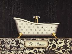 El Baño Bath Art, Bathroom Wall Art, Decoupage, House Construction Plan, Dee Dee, Comfort Zone, Dollhouse Miniatures, Framed Art, Art Deco