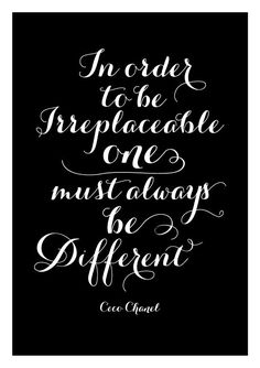 Coco Chanel be different - inspirational positive quote print poster, black and white typography. , via Etsy.