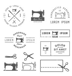Set of vintage tailor design elements vector by ivanbaranov on VectorStock®