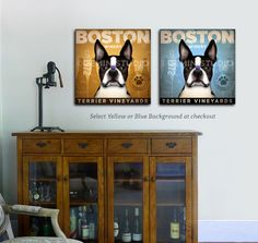 Boston Terrier dog Wine winery Company illustration gallery wrap on gallery wrapped canvas by stephen fowler by geministudio on Etsy https://www.etsy.com/listing/68450407/boston-terrier-dog-wine-winery-company