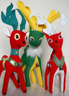 Retro reindeer. I remember these velveteen Christmas animals in the late 60s and early 70s - I had a mouse, I think.