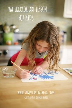 Love this simple watercolor *resist* art technique for kids - @Rebecca - Simple as That Blog