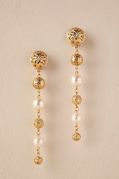 Choose vintage inspired jewelry from BHLDN, Anthropologie's wedding brand. Shop our collection of bohemian jewelry for the whole wedding party. Indian Jewelry Earrings, Jewelry Design Earrings, Gold Earrings Designs, Gold Jewellery Design, Necklace Designs, Bridal Jewelry, Gold Jewelry, Jewellery Box, Jewellery Exhibition