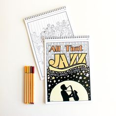Jazz style adults coloring book , great anti stress gift for music lovers unique gift for jazz lovers and 20th style fashion illustration by liatib on Etsy