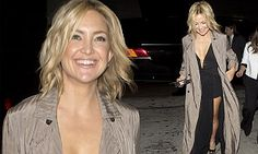 Kate Hudson dons a plunging black dress to Lady Gaga's 30th birthday bash | Daily Mail Online