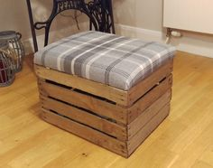 Vintage apple crate foot stool with hinged lid for storage