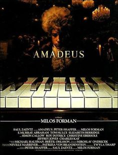 Amadeus by Milos Forman / Tom Hulce impersonating Wolfgang Amadeus Mozart vs F. Murray Abraham playing the part of Antonio Salieri / 8 Oscars, 4 British Academy Film Awards, 4 Golden Globes, et 1 Directors Guild of America Award.     Milos Forman closes-up on a genius facing exigency (his, his father's…) and envy to picture the decadence and sheer lunacy that win over him.