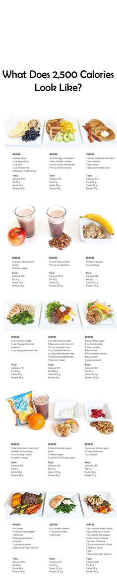 What Does 2,500 Calories Look Like? - Use this handy visual guide to see a day's worth of meals (breakfast, snack, lunch, snack and dinner) across 3 different macronutrient ratios!