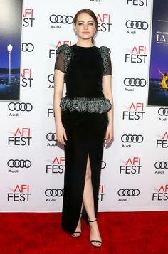 Emma Stone wearing MINNY to the 'La La Land' premiere during AFI fest in Los Angeles.