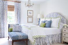 Green Hills Georgian – Sarah Bartholomew bedroom Brunschwig & Fils Les Touches headboard drapery fabric