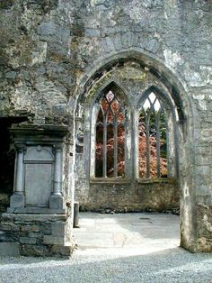 Arched doorway in Clare Abbey, Clarecastle in County Clare, Ireland.