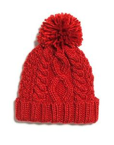 Red Knit Hat With Pompom