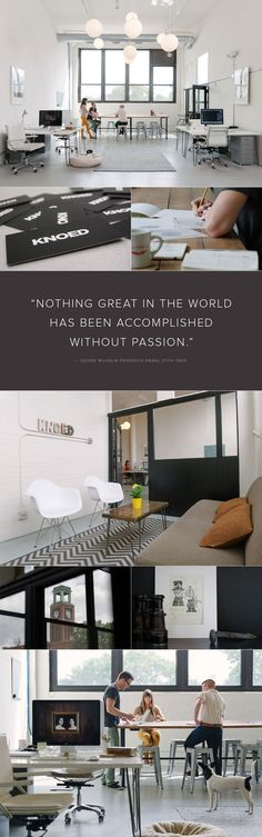Knoed is a boutique Chicago graphic design studio. Creative Office Space, Office Space Design, Office Interior Design, Office Interiors, Office Designs, Office Ideas, Best Office, Small Office, Agency Office