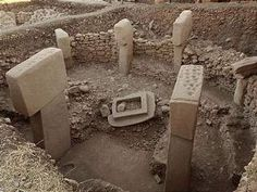 Gobekli Tepe - World's Oldest Known Temple  Uncovered near Sanliurfa, Turkey, the earliest known ancient ruins called Gobekli Tepe carbon dates to around 9,000 BCE and features carvings and a language that may also be the earliest known form of writing. The ruins are formed in rings of megalithic blocks estimated to weigh 7 to 50 tons each, and are intricately carved with animal figures. Theorists state the megaliths were placed by piling sand up then making a platform.