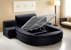 Modern Round Bed Design Ideas - Round Beds For Minimalist Bedrooms. Usually, the general perception of a Modern Round Bed Design Ideas is only. Modern Bedroom Furniture, Shabby Chic Furniture, Furniture Design, Bed Frame Design, Bed Design, Circle Bed, Full Bed Frame, Round Beds, Bed With Drawers
