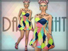 Sims 4 CC's - The Best: Patchwork Mini Dress by DarkNighTt
