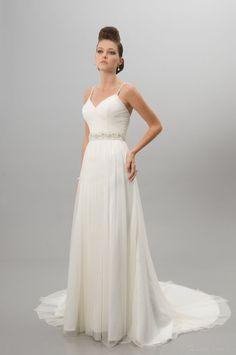New Fashion Sheath/Column Spaghetti Straps Beading Draped Court Wedding Dress