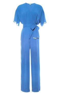 Cobalt Blue Soft Georgette Jumpsuit by Kenzo for Preorder on Moda Operandi