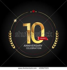 10 golden anniversary logo with red ribbon, low poly design number
