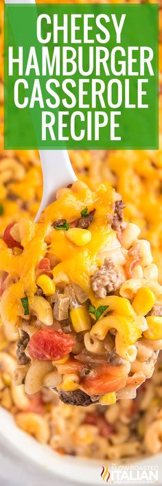 Hamburger casserole is easy to make and perfect for busy weeknights. Combine pantry staples with meat, cheese, and spices for a filling meal! #CheesyHamburgerCasserole #Pasta #EasyDinner Easy Casserole Recipes, Fun Easy Recipes, Real Food Recipes, Cooking Recipes, Cooking Videos, Casserole Dishes, Delicious Recipes, Entree Recipes, Recipes Dinner