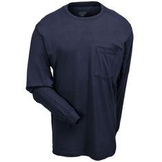 Berne Apparel Men's Navy Blue BSM23 NV Cotton Long-Sleeve Pocket Tee Shirt