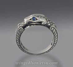OUROBOROS silver mens Snake ring with Blue Sapphire eyes