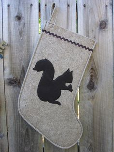Wool Felt Ecofelt Christmas Stocking Squirrel