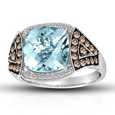 Le Vian® 14K White Gold Santa Maria Aquamarine® Le Vian Couture® and Chocolate Diamonds® Ring