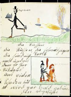 """If the English could only guess  That they also cannot expect great happiness  They will want to return to peace  Scared of our power, they will breathless run,  From the Germangun.    Written and illustrated by the Koepke siblings in September 1914, these remarkable nursery rhymes take a different perspective on war — war in the eyes of a child. They were submitted at the public digitisation day in Dresden in June 2011, as part of """"The First World War in everyday…"""