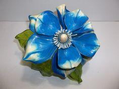 """Vintage Lucite Resin FLOWER Figurine BLUE WHITE 8"""" #MidCenturyModern #Unknown Hippie Flowers, Resin Flowers, Acrylic Resin, White Flowers, Mid-century Modern, Mid Century, Blue And White, Sculpture, Antiques"""
