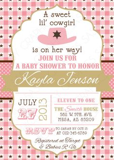 Cowgirl Baby Shower invitation vintage peach country wood backyard