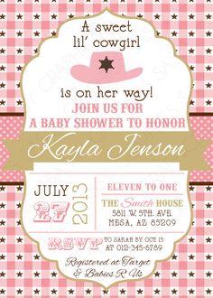 Girls Baby Shower Invitation   Cowgirl, Baby Girl, Pink, Brown, Polka Dots,  Stars, Printable, Digital