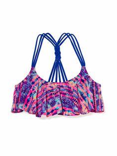 Knotted-Back Flounce Crop Top , victoria secret bikini top ,