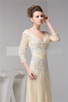 Beige V-neck Long Sleeves Sheath/ Column Evening Dress -Wedding & Events-Special Occasion Dresses-Evening Dresses