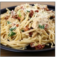 Cajun chicken pasta. Two chicken breasts cut into strips,4oz linguini, Cajun seasoning ,2tbs butter, One green onion, 2cups whipping cream, 2tbs sundried tomatoes, 1/4 tsp salt, 1/4 tsp basil, 1/8 tsp pepper, 1/8 tsp garlic powder. Coat your chicken in Cajun seasoning, melt butter in skillet add chicken cook until done, add whipping cream, onion sun dried tomatoes and seasonings, cook until heated through. Eat over pasta and top with parmesan cheese. The recipe calls for linguini but I…