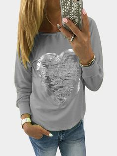 Grey Heart-shape Sequin Round Neck Long Sleeves T-shirt