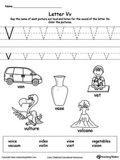 **FREE** Words Starting With Letter V Worksheet.Teach the beginning letter sound by saying the name of each picture and then allow your child to trace the uppercase and lowercase letter V in this printable activity worksheet.