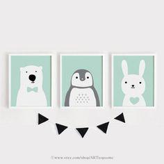 Digital print Bär Pinguin Bunny druckbare Kindergarten Art Set