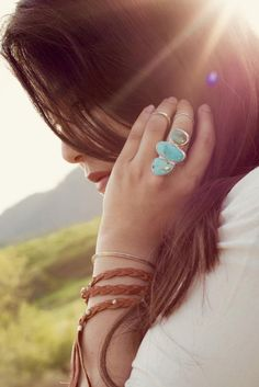 Slip on stacked turquoise perfection.