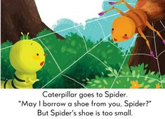Poor Caterpillar has lost her shoe, and can't find one that fits! Read the best bedtime stories, short stories for kids, fairy tales and poems for kids here! English Moral Stories, Short Moral Stories, English Stories For Kids, Learning English For Kids, English Lessons, Small Stories For Kids, Picture Story For Kids, Moral Stories For Kids, Kindergarten Poems