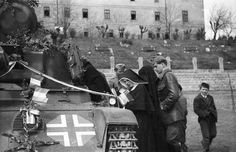 """The consecration of the Hungarian tank 38M Toldi II"""" before sending to the front."""