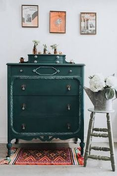 Antique cabinet painted in Annie Sloan Florence and Graphite
