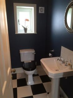 Hague Blue walls and Slipper Satin by Farrow and Ball. Small Toilet, New Toilet, Hague Blue Bathroom, Stiffkey Blue, Toilet Room, Downstairs Loo, Small Bathroom, Bathrooms, Bathroom Ideas