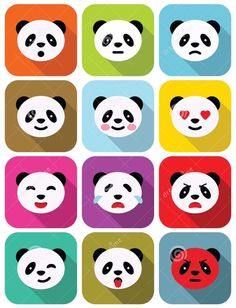 Illustration about Panda bear flat emotions icons set with long shadows. Illustration of face, angry, cute - 39480842 Cartoon Expression, Long Shadow, Tatty Teddy, Panda Bear, Icon Set, Icon Design, Illustration, Cute, Poster